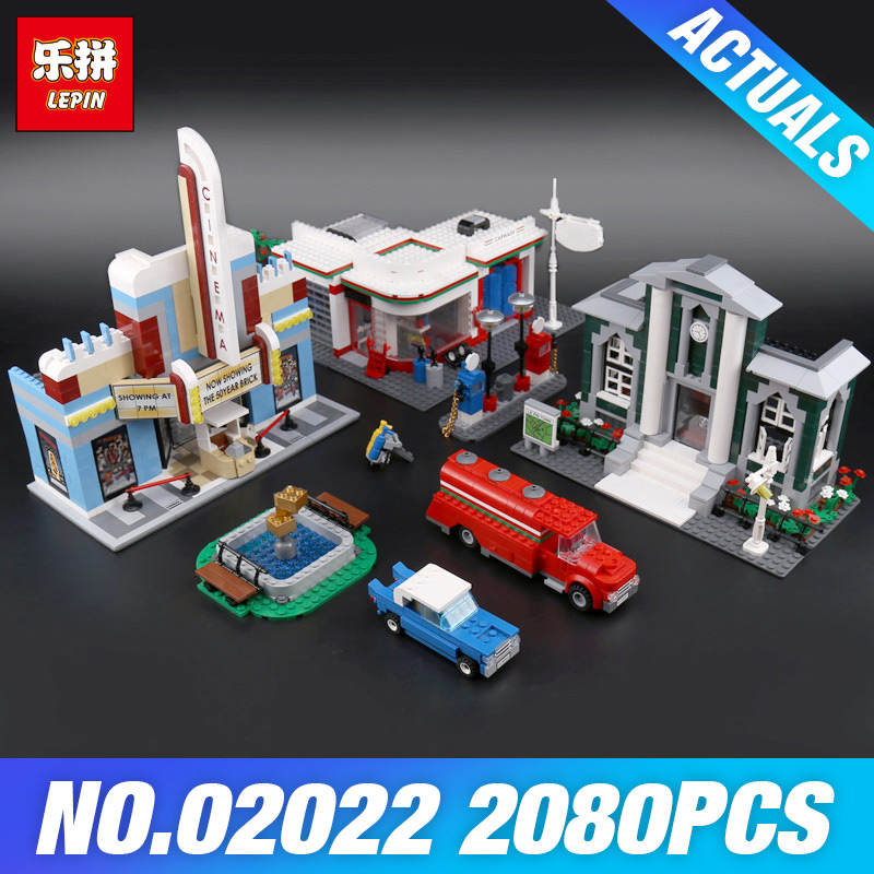 Lepin 02022 2080pcs City 50th Anniversary Town Building Blocks Bricks educational Toys for children Gifts Compatible 10184 Gifts anniversary set town plan lepin cinema service station lamppost vehicle 02022 city diy building blocks bricks toys 10184 2080pcs