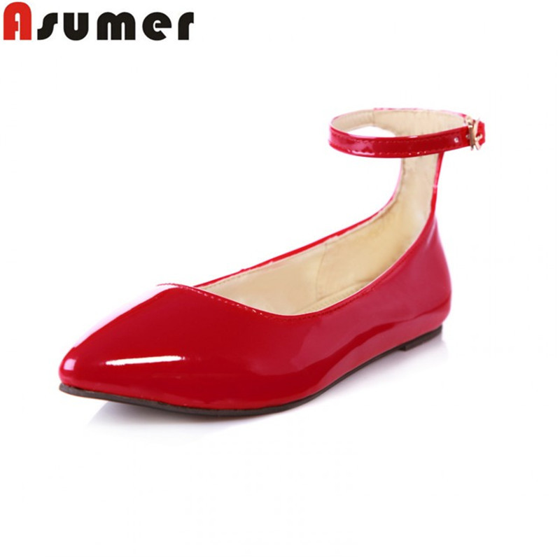 Asumer fashion women flats ankle strap with buckle pointed toe yellow /blue/green flat shoes woman paint Leather lady shoes lankarin brand 2017 summer woman pointed toe flats ladies platform fashion rivet buckle strap flat shoes woman plus size