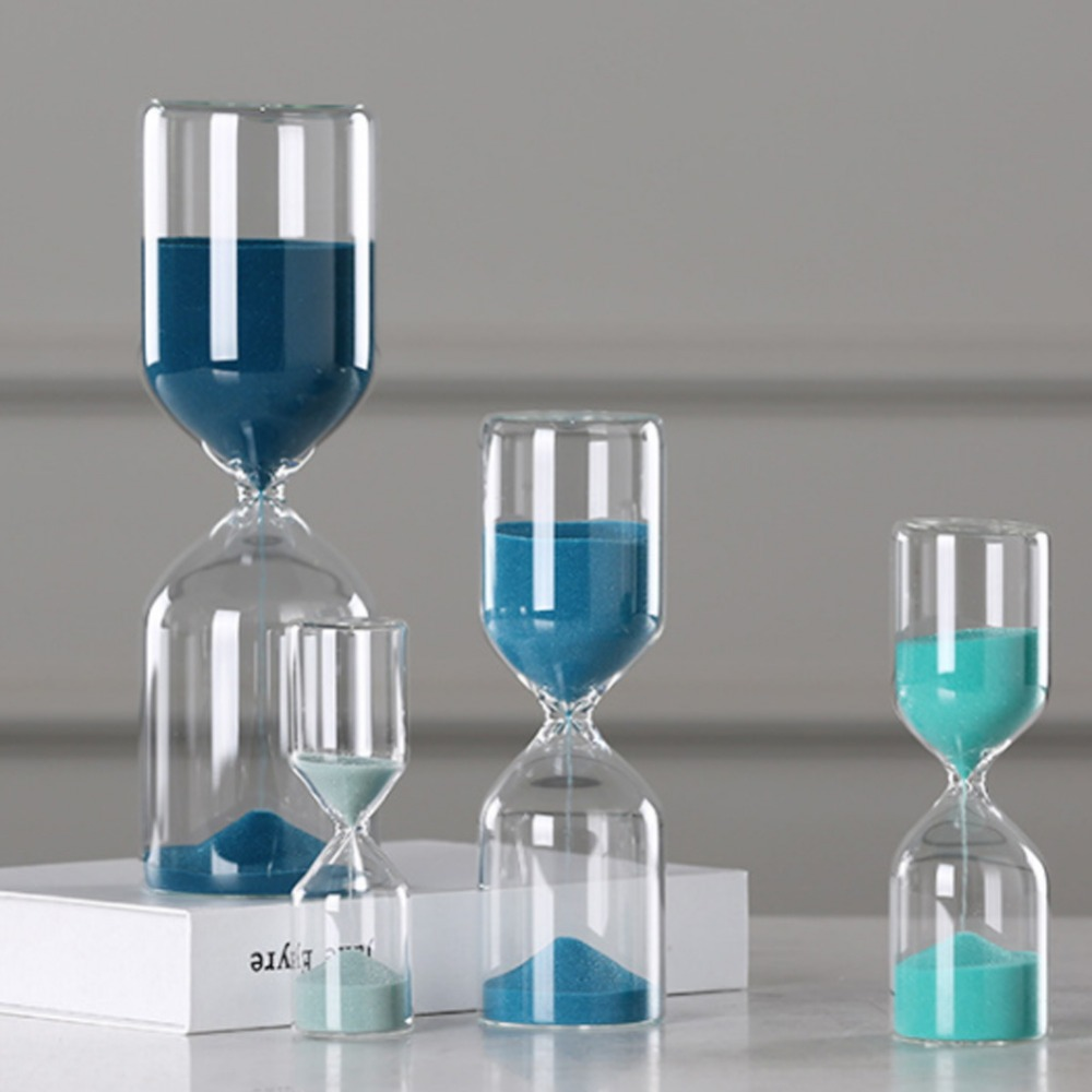 5 Minutes Hourglass High Borosilicate Glass Light Gray Gemstone Blue Hourglass Timer Children Gifts Sand Timer Home Decoration