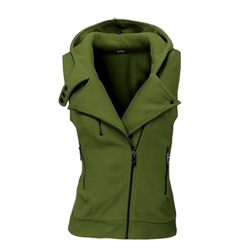 Women Sport Solid Color Hooded Vest Sweatshirt with Oblique Zipper Sleeveless Hoodie for Running Jogging Outdoors Hiking Camping