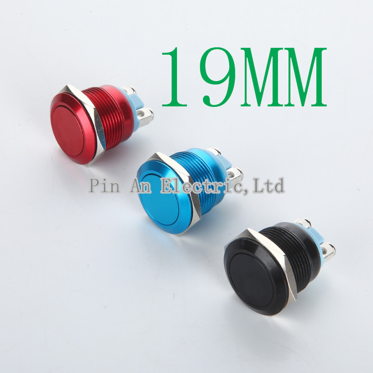 1pcs 19mm Zinc Alloy Metal Push Button Switch Car Modification Horn Doorbell Automatic Reset Waterproof Sell At A Loss