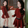 New Fashion 2016 Girls clothing sets red plaid hoodie+tutu skirt two-piece children casual kids school clothes suit skirt