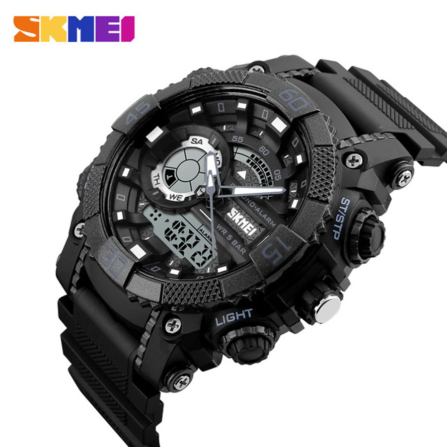 SKMEI Military Watches Men Fashion Casual Outdoor Sport Watch Men Waterproof Dual Display Mens Digital Quartz Wristwatch Boy