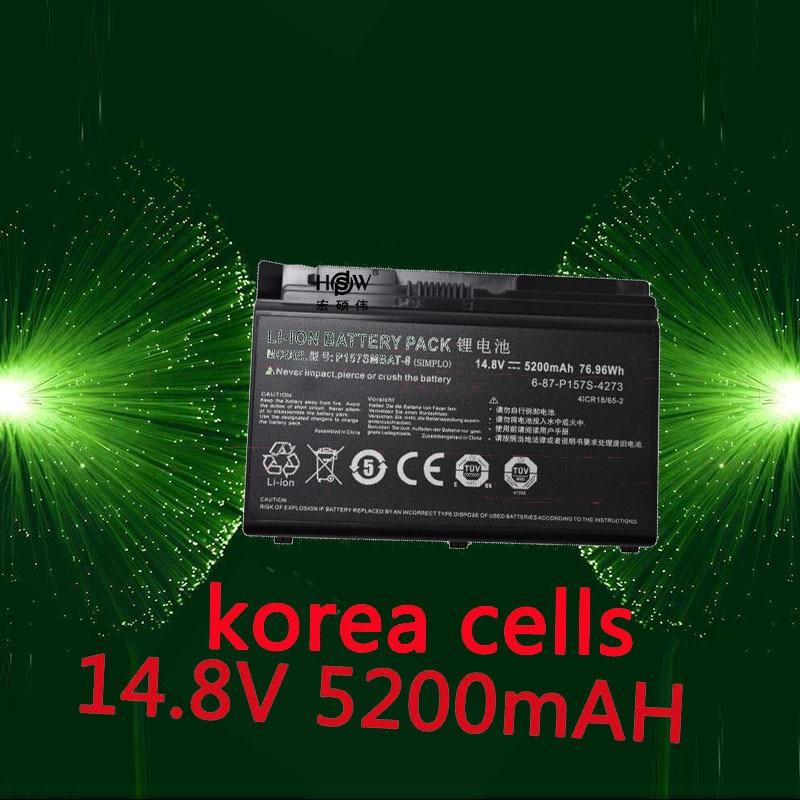 HSW Battery For Clevo X611 P157 p157S HASSEE K780S k680c K670G-i7 D1 XMG P704 P157SMBAT-8 6-87-P157S-4272 bateria akKU origianl clevo 6 87 n350s 4d7 6 87 n350s 4d8 n350bat 6 n350bat 9 laptop battery
