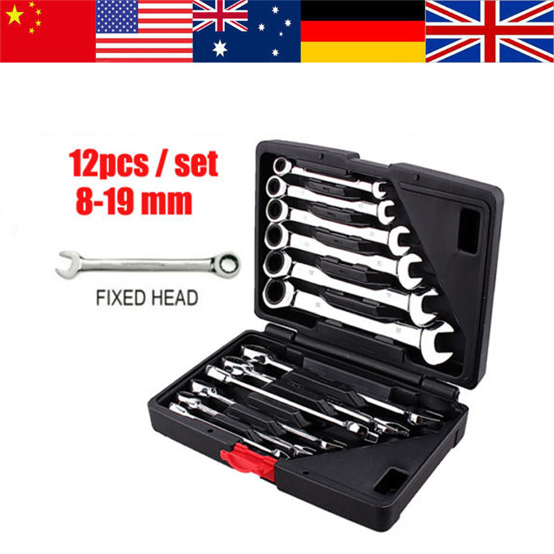 12Pcs/Lot Fixed Head Ratcheting Spanner Wrench Combination Sets Kit Ratchet Handle Wrenches 8-19mm Car Repair Hand Tools Set New