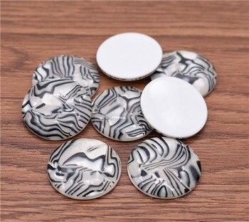 5 unids/lote 20/25/30mm nueva moda patrón negro resina cabujones patrón joyería accesorios suministros