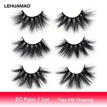 LEHUAMAO 50 คู่/ล็อตแต่งหน้า Eyelashes 25 มม.5D Mink Eyelashes ปุยธรรมชาติยาว Lashes ความโหดร้ายฟรีขนตาปลอม Eye Eye