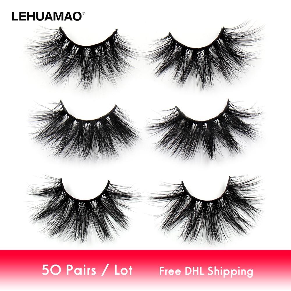 e2164e4cd74 LEHUAMAO 50 Pairs/lot Makeup Eyelashes 25mm 5D Mink Eyelashes Fluffy  Natural Long Lashes Cruelty Free False Eyelash Dramatic Eye