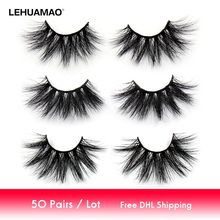 LEHUAMAO 50 Pairs/lot Makeup Eyelashes 25mm 5D Mink Fluffy Natural Long Lashes Cruelty Free False Eyelash Dramatic Eye