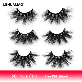 LEHUAMAO 50 Pairs/lot Makeup Eyelashes 25mm 5D Mink Eyelashes Fluffy Natural Long Lashes Cruelty Free False Eyelash Dramatic Eye