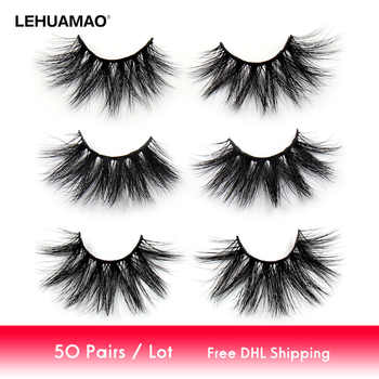 LEHUAMAO 50 Pairs/lot Makeup Eyelashes 25mm 5D Mink Eyelashes Fluffy Natural Long Lashes Cruelty Free False Eyelash Dramatic Eye - DISCOUNT ITEM  41% OFF All Category