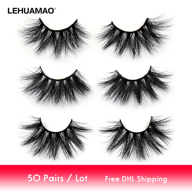 LEHUAMAO 50 paires/lot maquillage cils 25mm 5D vison cils moelleux naturel Long cils cruauté libre faux cils dramatique