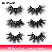LEHUAMAO 50 Pairs/lot Makeup Eyelashes 25mm 5D Mink Eyelashes Fluffy Natural Long Lashes Cruelty Free False Eyelash Dramatic Eye