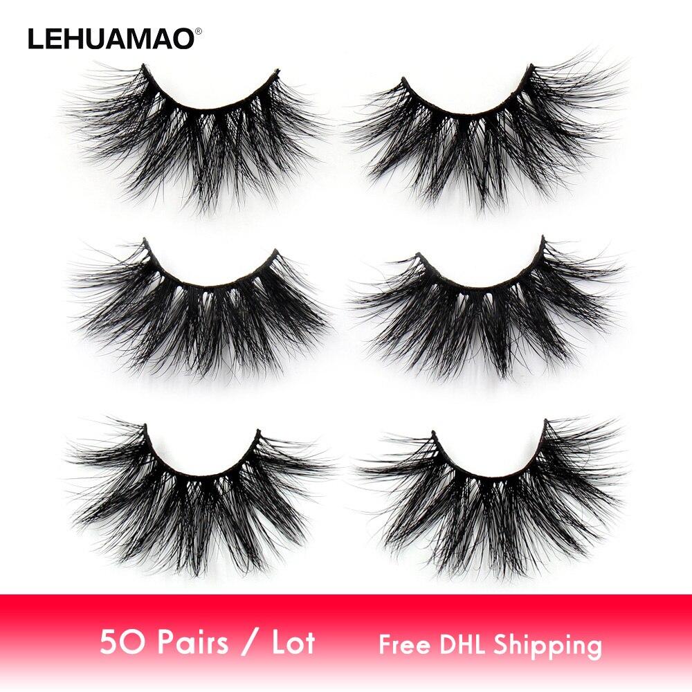LEHUAMAO 50 paires/lot Maquillage Cils 25mm 5D Vison Cils Moelleux Naturel Longs Cils Sans cruauté Faux Cils Oeil Dramatique