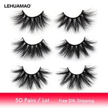 LEHUAMAO pestañas postizas de visón 5D, 50 par/lote, maquillaje, 25mm, esponjosas, naturales, largas, sin crueldad