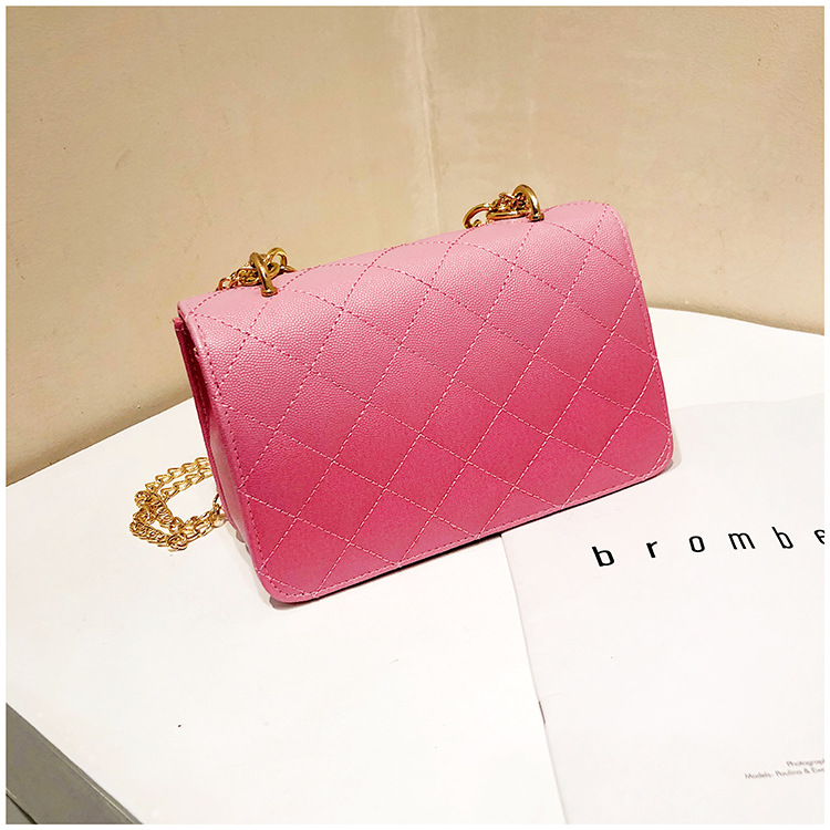 Luxury Women Classic handbag Designer Pink Blue Gradient PU Leather Lingge Shoulder Bag (9)