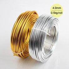 Atacado 0.5kg 4mm 6 calibre anodizado artístico redondo de alumínio ofício fio 15m ouro brilhante prata colorido jóias macio metal fio