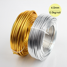 Wholesale 0.5kg 4mm 6 gauge Anodized Artistic Round Aluminum Craft Wire 15m Bright Gold Silver Colored Jewelry Soft Metal Wire