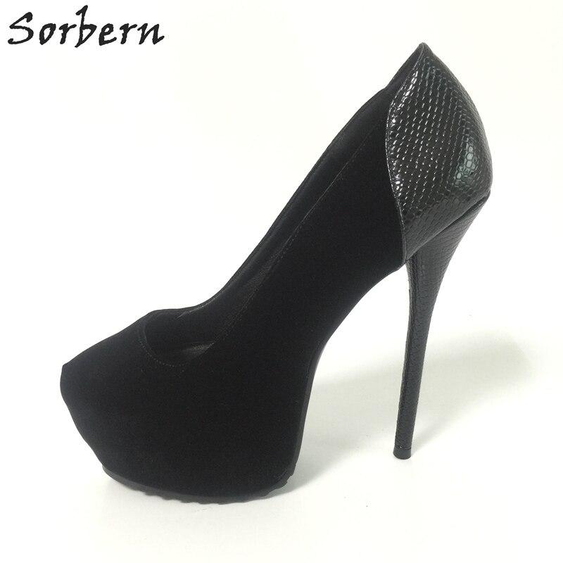 Sorbern Black Dancing Shoes For Womens Nude Bottom Heel Pumps Sexy Platform Heels Size 14 Womens Shoes Custom Colors 2018 New womens