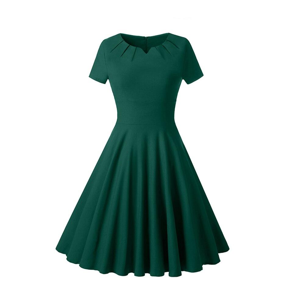 Для женщин пузырь плиссированное платье в стиле ретро; короткий рукав рокабилли большие качели Вечеринка Бальные платья H9