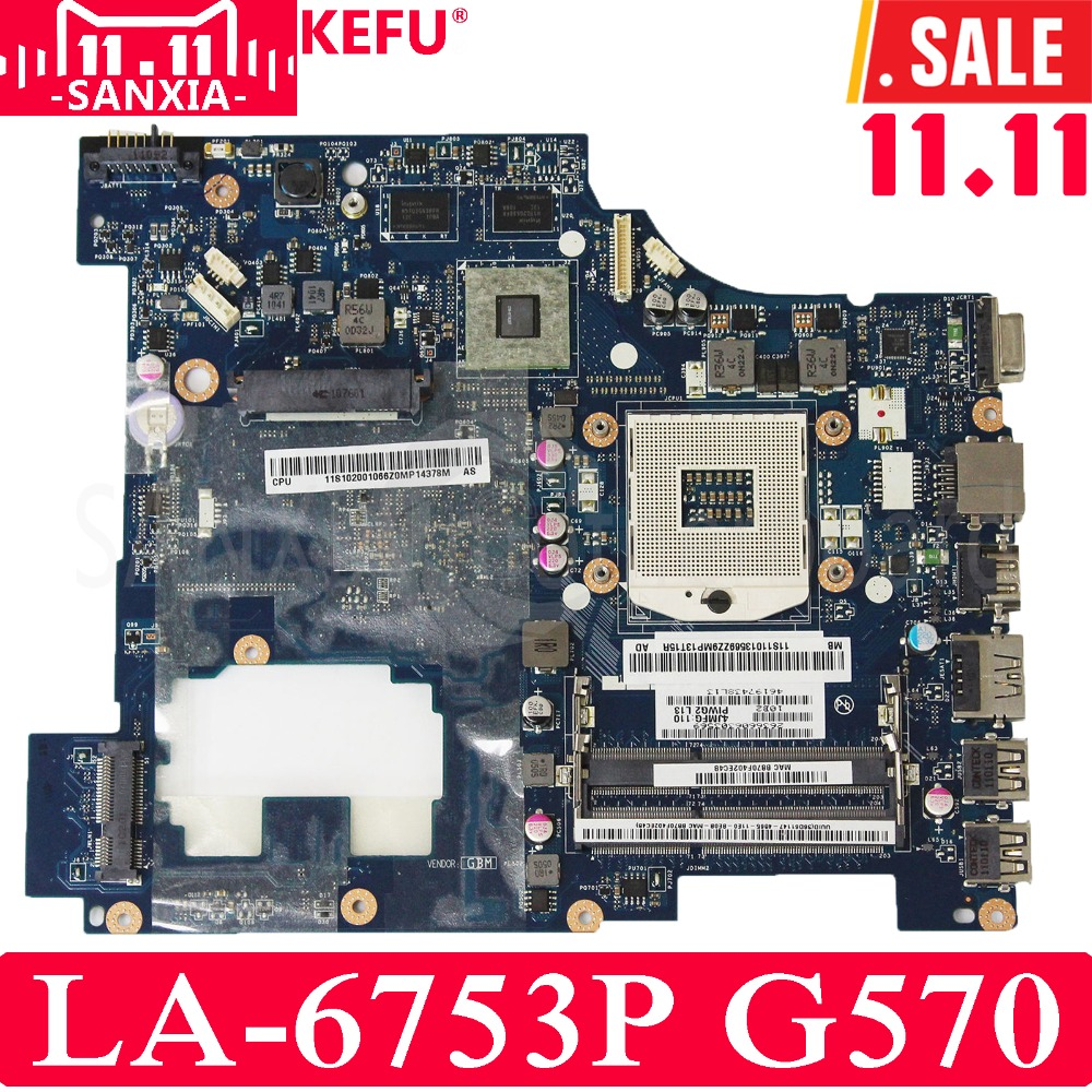KEFU PIWG2 LA-6753P Laptop motherboard for Lenovo G570 Test original mainboard HM65 DDR3 working perfectly for lenovo g570 notebook motherboard piwg2 la 675ap main board