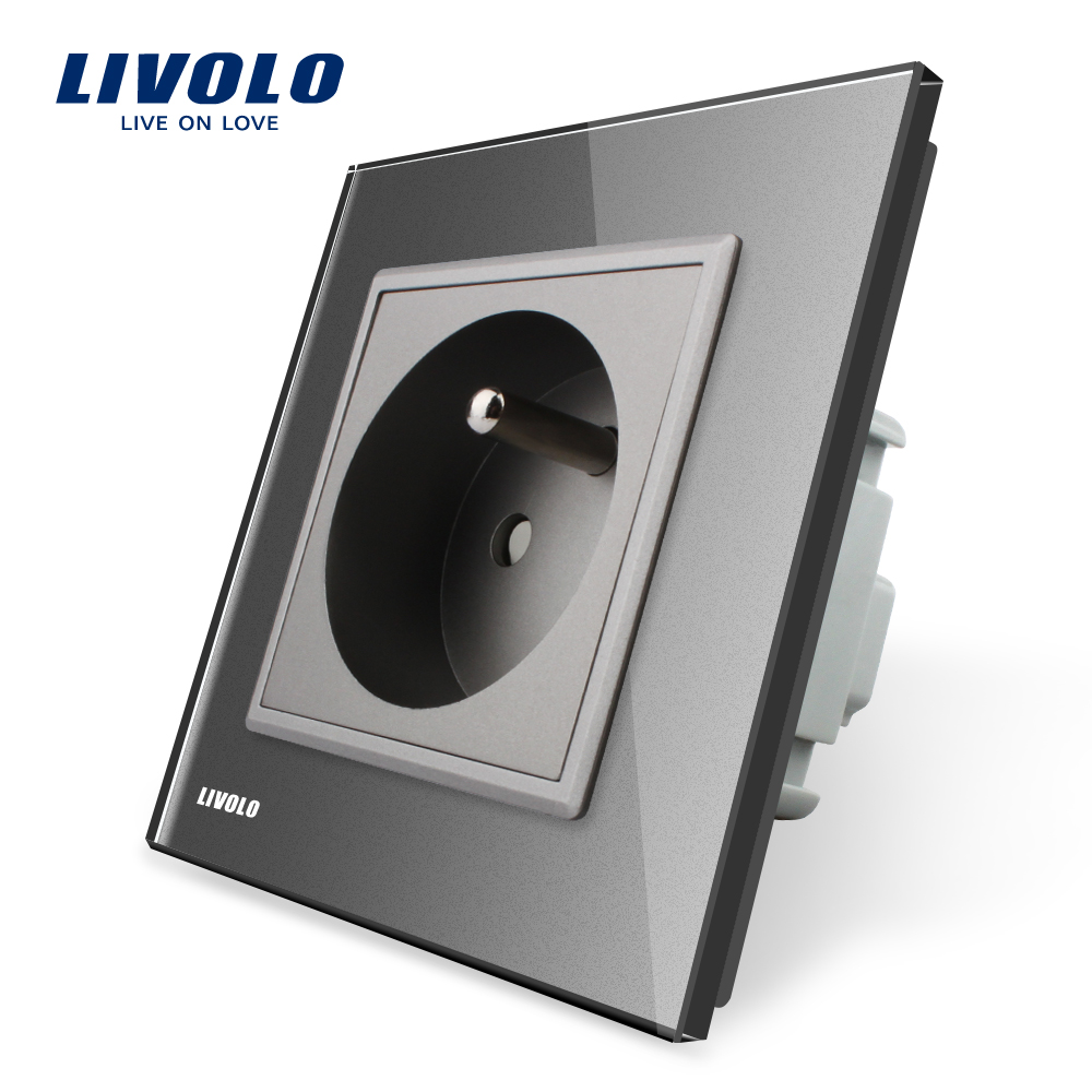 Livolo New Outlet,French Standard Wall Power Socket, VL-C7C1FR-15,Gray Crystal Glass Panel, AC 110~250V 16A atlantic brand double tel socket luxury wall telephone outlet acrylic crystal mirror panel electrical jack