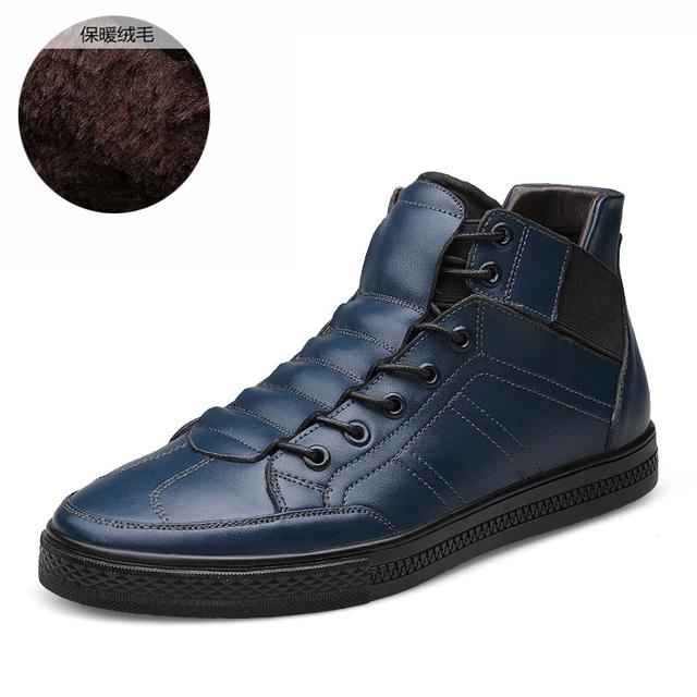Británico Estilista 100% Hombres Zapatos Casual Hombres de Cuero Genuino Botas de Invierno Cálido Terciopelo Martin Botas Los Hombres Zapatos de Invierno Tamaño 38-44