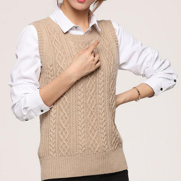 New Spring Women Casual Wool Cashmere Vest Female Sleeveless Sweater Woolen Sweater O-neck Vest V-neck Cardigan Waistcoat Top