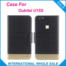 Super! Oukitel U15S Case 5 Colors Fashion Business Magnetic clasp, High quality Leather Exclusive Cover Phone Bag