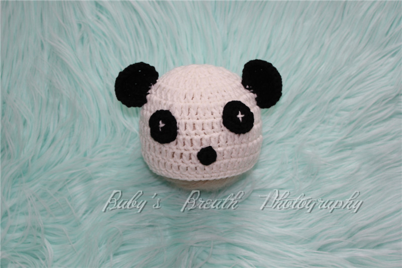 Panda Bear Crochet Hat Newborn Baby Photography Hat Baby Panda Bear Beanie Baby Shower Gift