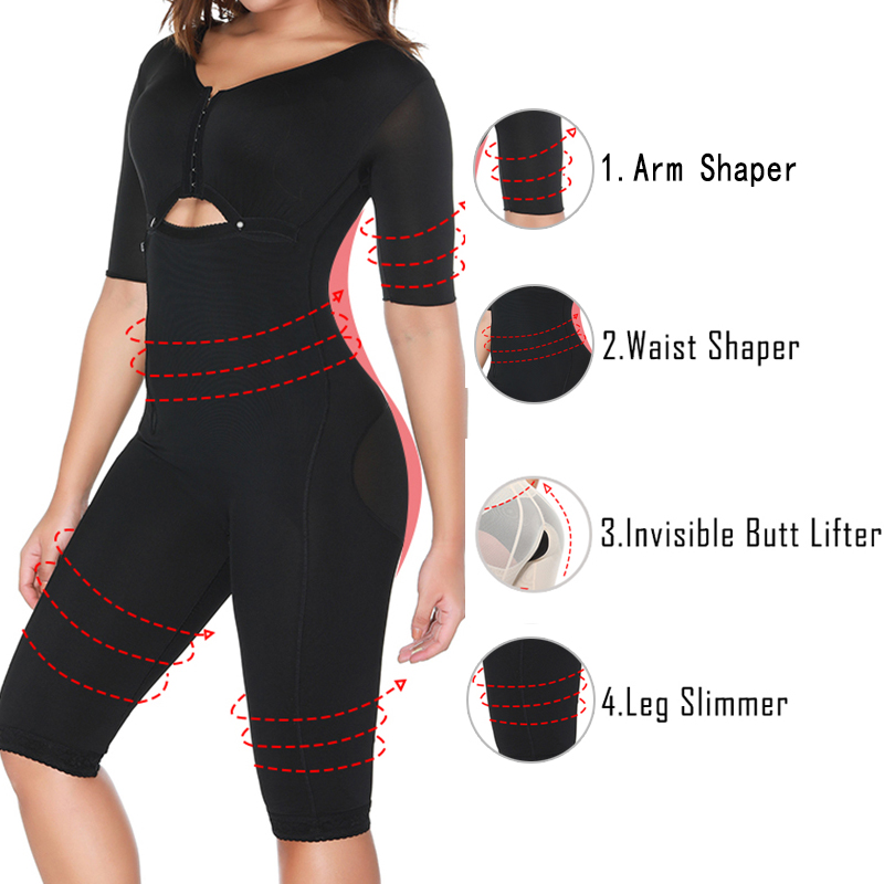 Image 3 - Women Fajas Colombianas Powernet Full Body Shaper Post Surgery BodySuit Waist Trainer Corset Shapewear Tummy Control Arm shaper-in Bodysuits from Underwear & Sleepwears