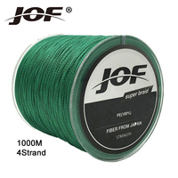 New JOF Brands 4 Strands 1000 Meters Multifilament 100 PE Braided Fishing Line Japan Super Strong