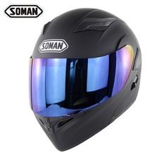 New Arrival Soman 955 Double Lens Motorcycle Helmet Flip UP Modular Motorbike Street Helmets Casco Casque Color Visor
