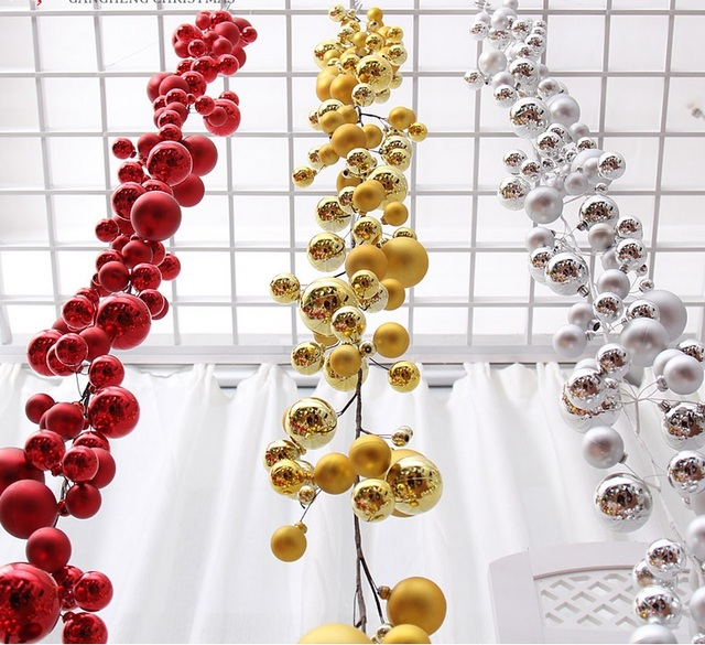 1 8meters Gold Red Silver Ball Suspension Ornament Strap Garland Christmas Tree Holiday Venue