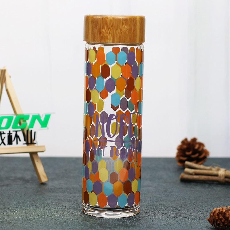 Vintage Glass Bottle With Bamboo Lid Sealed Sports Water Bottle Beautiful Painting For Travel Creative Gift 600ml