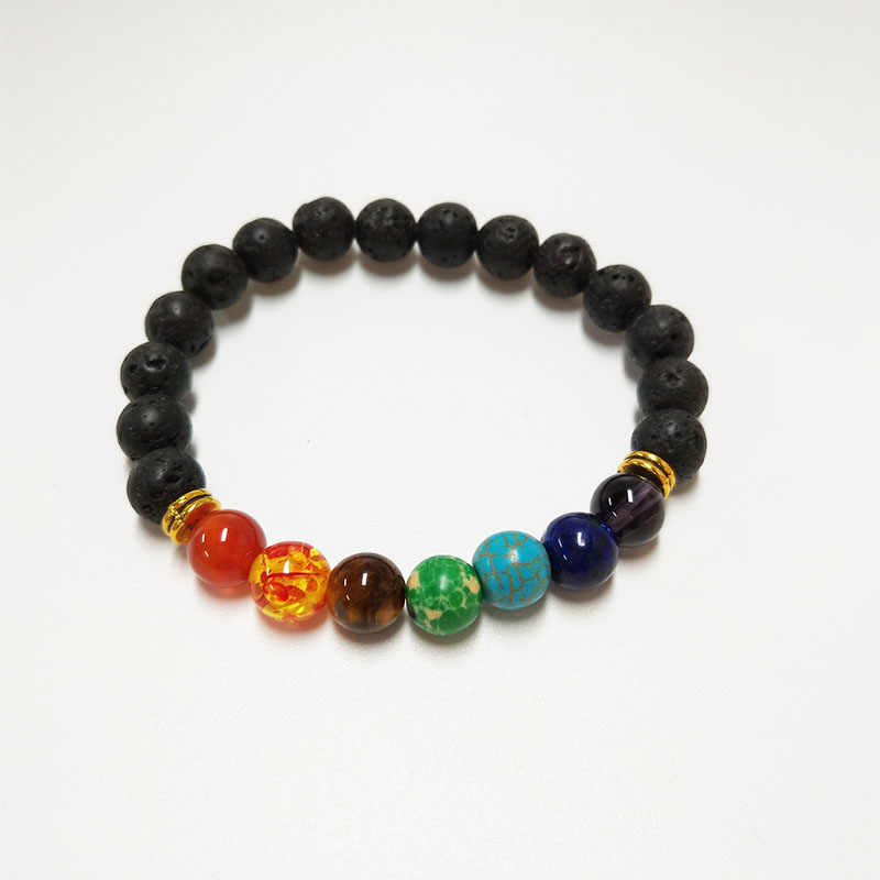 LELX 1PC New 7 Chakra Bracelet Men Black Lava Healing Balance Beads Reiki Buddha Prayer Natural Stone Yoga Bracelet For Women