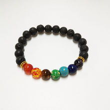LELX 1PC New 7 Chakra Bracelet Men Black Lava Healing Balance Beads Reiki Buddha Prayer Natural Stone Yoga Bracelet For Women(China)