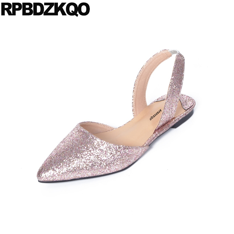 Glitter Sandals Ladies Beautiful Flats Shoes Women Pink Pointed Toe Slip On Large Size Sparkling Wedding 2017 Slingback European pu pointed toe flats with eyelet strap
