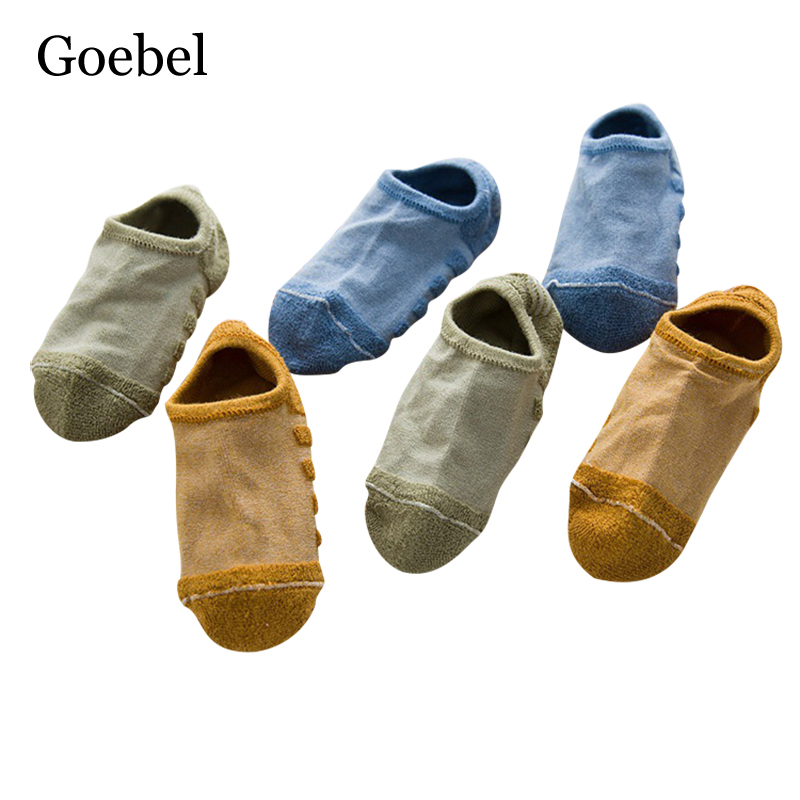 Goebel Towel Bottom Socks Ankle Men Fashion Summer Sweat Socks Funny Mens Casual Solid Color Male Socks 3pairs/lot