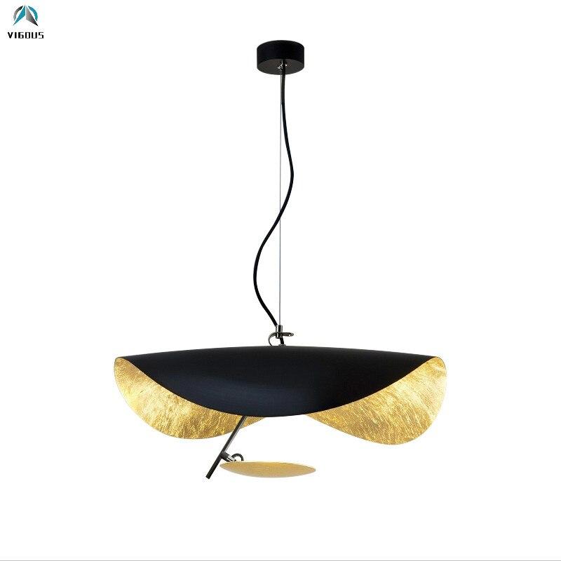 Le pendentif Led en métal irrégulier Unique moderne de concepteur de l'europe allume la lampe suspendue par feuille d'or