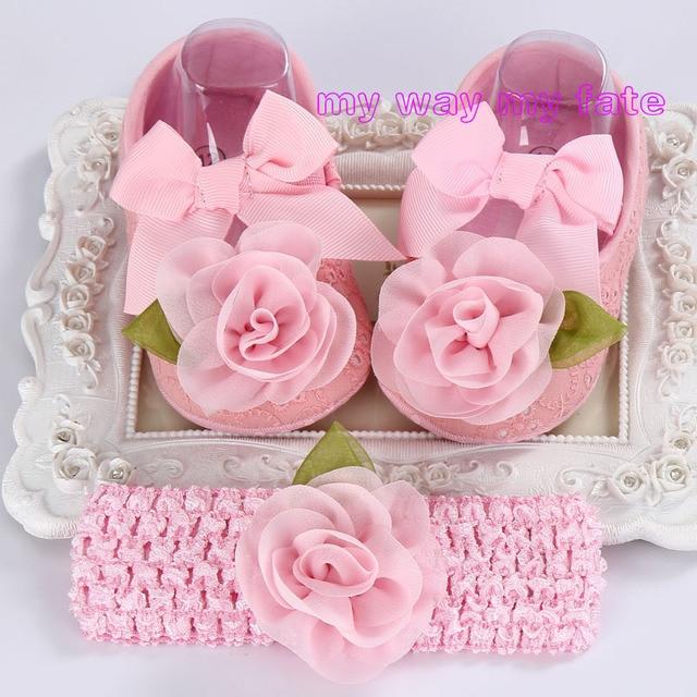 Новорожденный девушка марка, Малыш младенческой ткани ребенка пинетки повязка на голову комплект, Sapato Bebe первый обуви, Душа