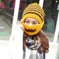 2016 зима женщины hat ручной вязки шерсть шляпа теплый борода маска ухо шапки милый рыцарь крышка Завод прямые продаж MZ-30 #