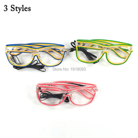 New Type EL Wire Glowing Glasses + Sound active Driver 20pieces Double Colors Event Party Favors Holiday Lighting Suupleis