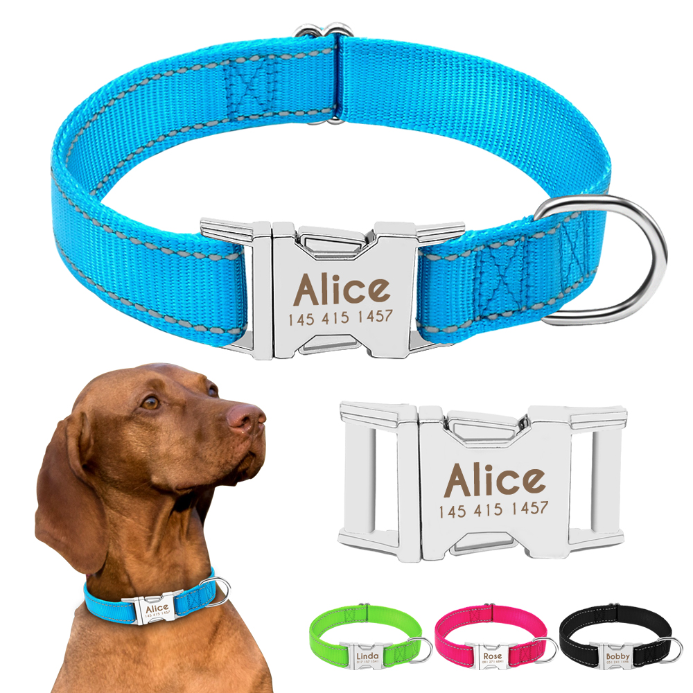 Personalized Dog Collar Durable Nylon Reflective Collar Custom Pet Dogs Collars For Small Medium Large Dogs