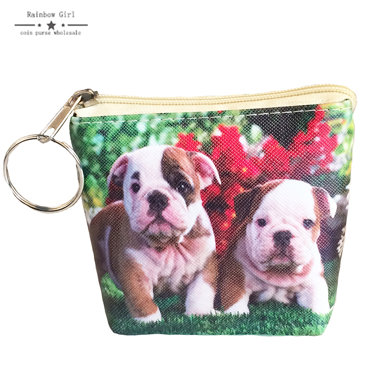 Rainbowgirl 2017 New printing cute Dog coin purses Women clutch Change purse mini wallet Ladies Female Short money bags