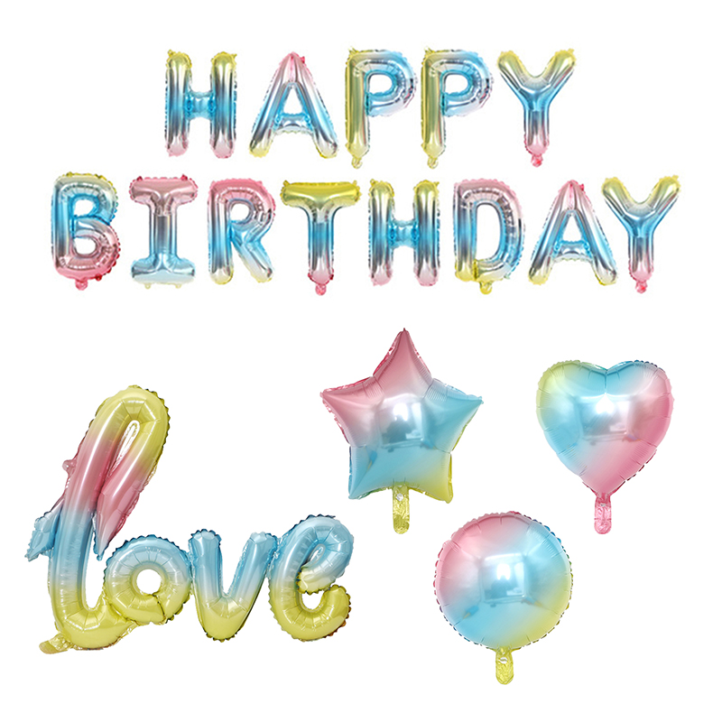 16Inch Rainbow Alphabet Happy Birthday Balloon Birthday Party Decorations Kids Event Supplies Foil Balloons Baby Shower Balon(China)