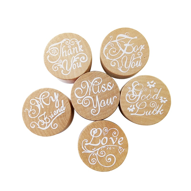 1 Pcs/lot Vintage Wishes Round Wooden Rubber Stamps For DIY Scrapbooking  Decoration Embossing Craft