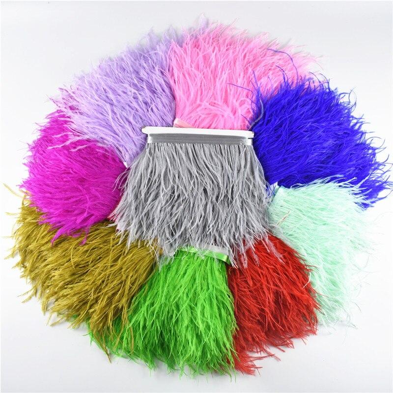1 Meter 8-10CM ostrich feather  trims natural Black White For Crafts ribbon fringe for skirt Wedding decoration