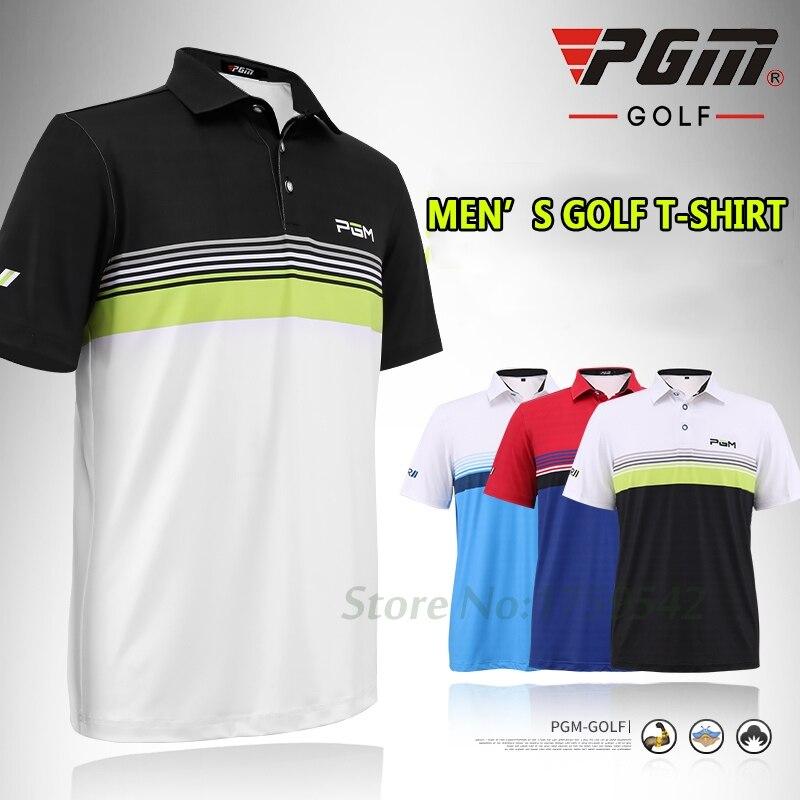 NEW 2017 Mens Golf Shirt Apparel Short Sleeve Men T Shirt Polo Shirt Breathable 86% Polyester 14% Spandex High-quality 4 Colors