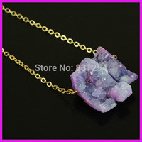 1pc Lot New Popular Pink Geode Stone Pendant Three Free Form Gem Stone Point Female Sexy